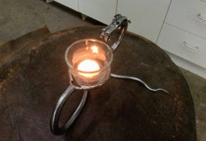 hand forged ironwork dragon candle holder